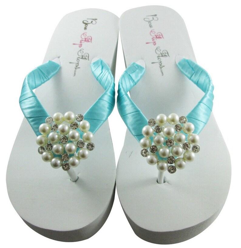 bb091621e Wedding wedge flip flops in Ivory or white something blue-for
