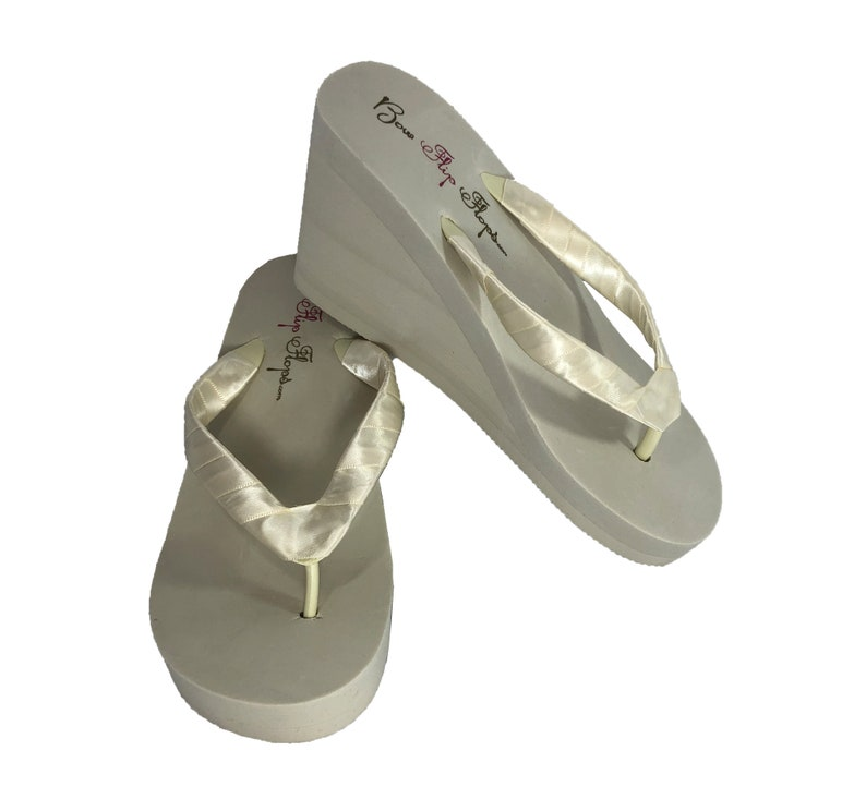 6e60422bfaf Ivory or White Wedge Heel Flip Flop Sandals, Great for the Bride at the  Wedding - 1 - 2- 3 inch heel heights -Choose ribbon color for straps