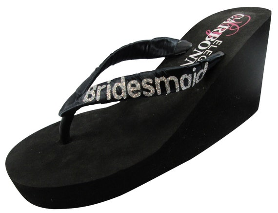 choose Wedge sizes for Bride's color Flops Black ladies girls all Bridesmaid Bride glitter and Groom Mom Flip Silver xzAEwwqX