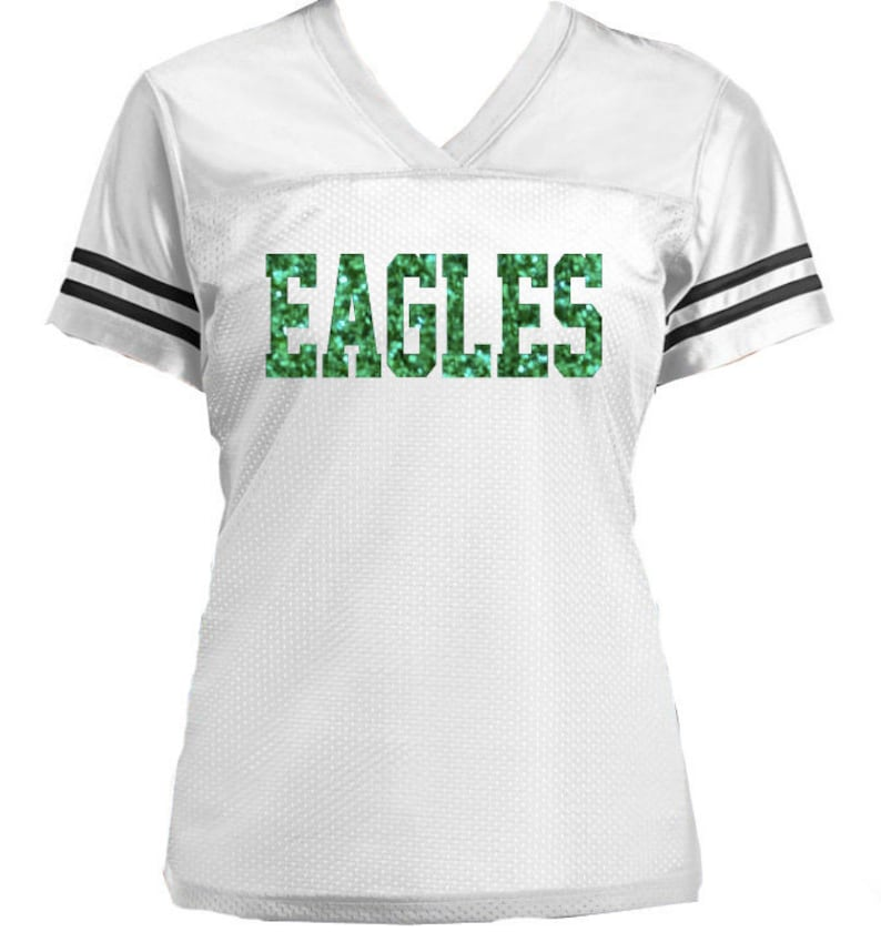 Football or Sports Jersey Shirt with Glitter Eagles or Any  da16c59af