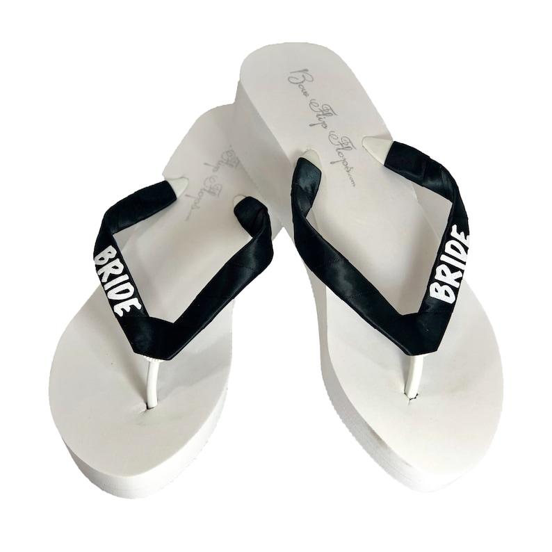 9341a7dbe07dd Black & White Glitter Bride Wedge Flip Flops - Ivory or White Heel Flip  Flops, Wedding Bridal Sandals- all sizes heel heights, Bridesmaid
