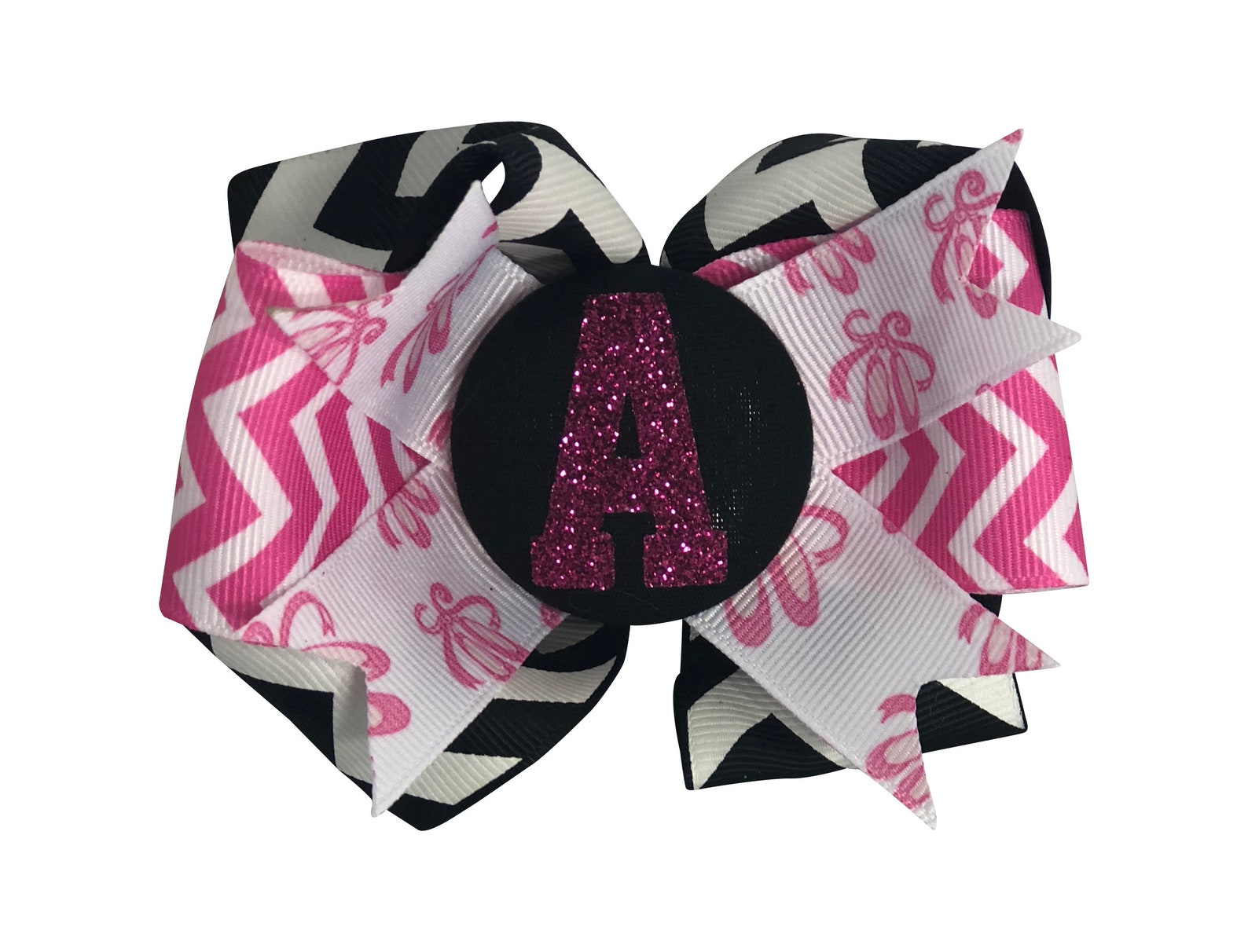 dance/ ballet personalized hair bow clip or ponytail tye, ballet shoe ribbon, glitter initial, chevron or choose ribbon colors