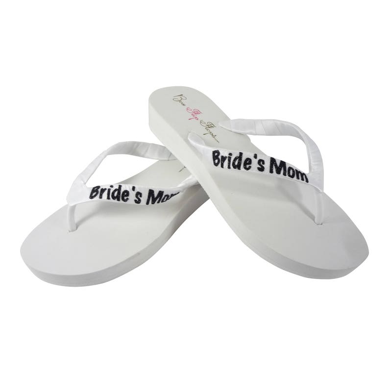 3d04ebb2994bcd Bride s Mom Flip Flops  Groom s Mom Wedges  Ivory .