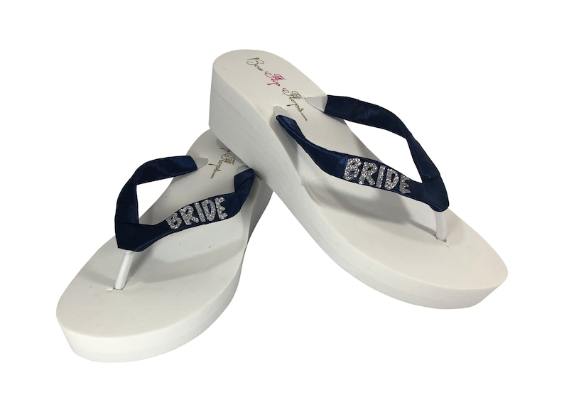 ad4ac5bbcd0c Bride Flip Flops in Navy   Silver and White or choose colors