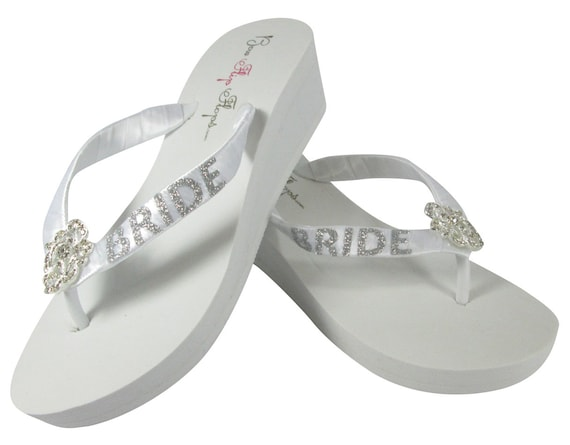 on Colors Flops Glitter White Flip and Bling Ivory Lettering Ribbon Silvery Flip Choose Pink and Bride with or Flops Heart vnZdPHwqq