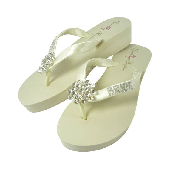 in Big Bride the Wedges Glitter with for or White Wedding Flip Silver Flops Ivory Jewel fUCqrfwP