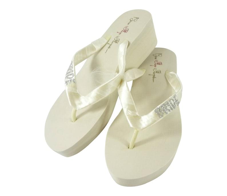 9d4eb1ed71d Silver   Ivory Bling Wedding Bride Flip Flops Bridal Flip