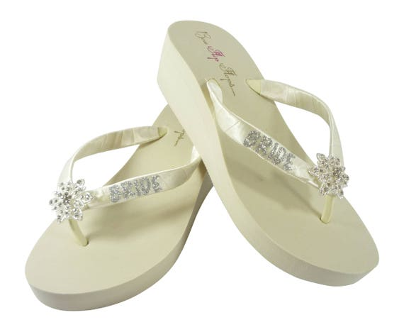 75980808f Flops the Flower in Vintage White in Glitter Flip or Ivory for Bride Bridal  Wedges with Wedding qx1ffXawt