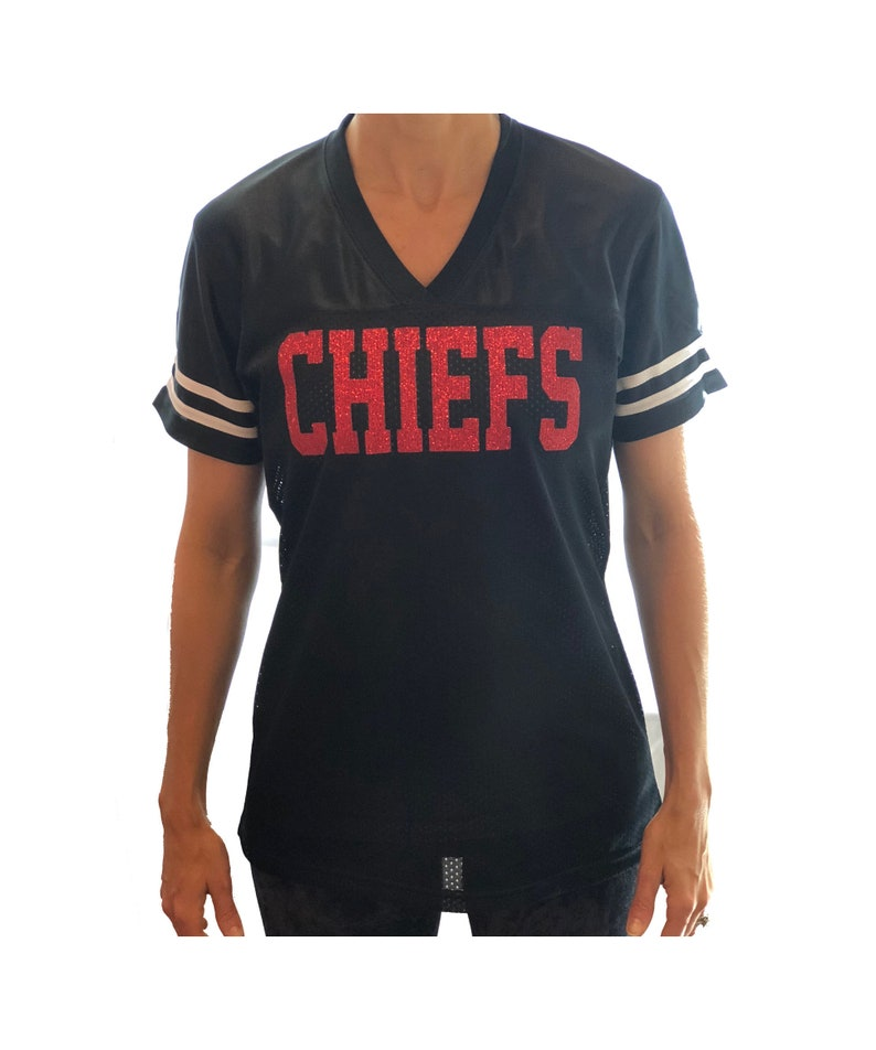 1bf1a266e42 Customized Team Name Jersey Glitter Shirt KC Chiefs or   Etsy