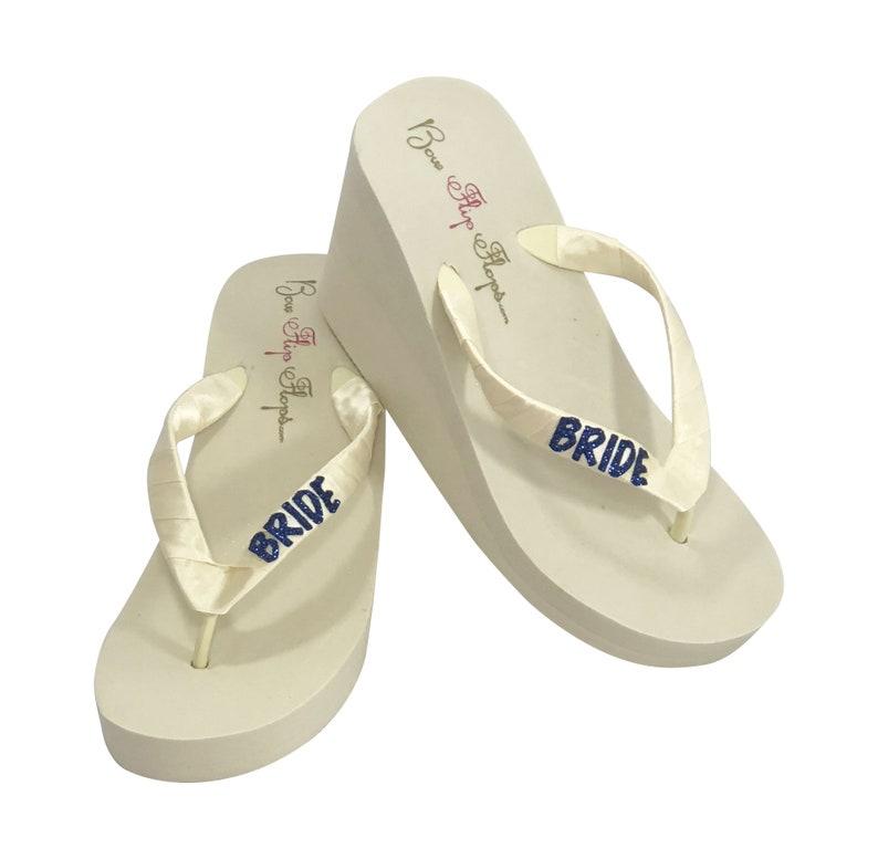 80244c4d1464cb Bride Flip Flops Wedges-Ivory or White Heel Navy Blue Glitter