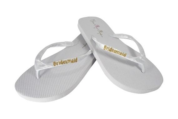 8aac9a7100077d Bridesmaid Flat Flip Flop Sandals for Wedding Shoes Gold