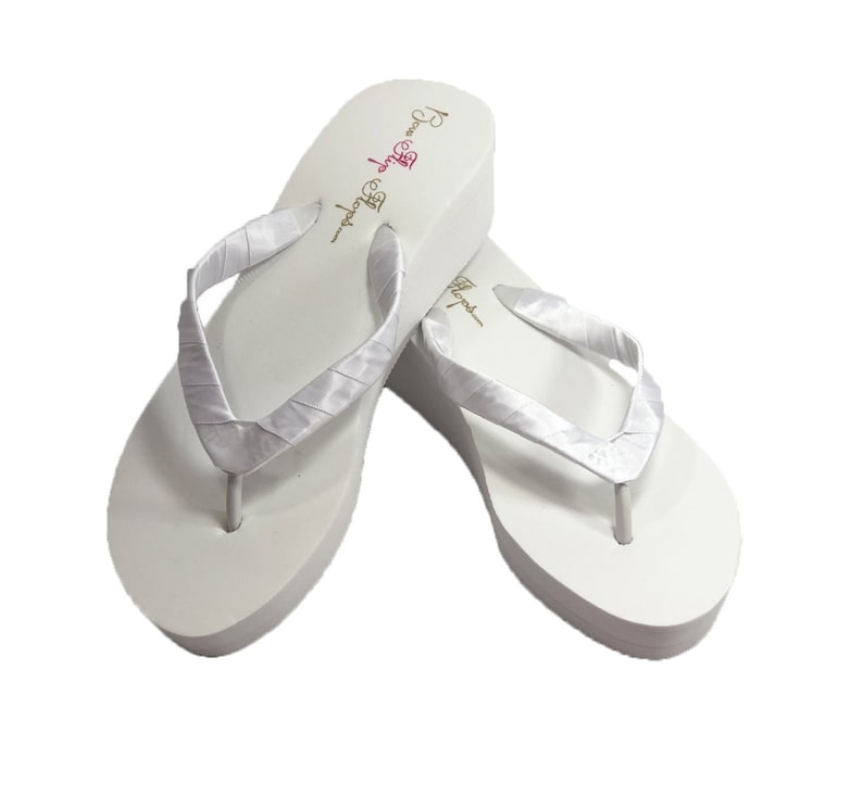 a2847c23fc4 Simple Satin Wrapped Wedge Heel Flip Flops in White or Ivory, Bridal Plain  Sandals, Bridesmaid Shoes, 1/2/3.5 inch