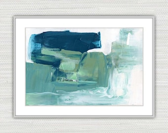 Abstract Art Print, Acrylic Expressionism, Teal, Sea Green and White Wall Art, Instant Download from an Original Painting, Victoria Kloch