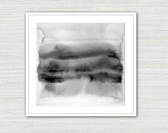 Abstract Art Print, Watercolor Minimalist, Black and White, Wall Art, Instant Download from an Original Painting, Victoria Kloch