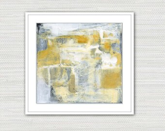 Abstract Art Print, Acrylic Expressionism Yellow Ochre, White and Gray Wall Art, Instant Download from an Original Painting, Victoria Kloch