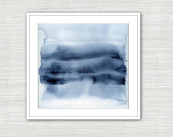 Abstract Art Print, Watercolor Minimalist, Indigo Blue Wall Art, Instant Download from an Original Painting, Victoria Kloch