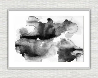 Abstract Art Print, Watercolor Expressionism Black and White Wall Art, Instant Download from an Original Painting, Victoria Kloch