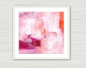 Abstract Art Print, Acrylic Expressionism, Pink Orange Magenta and White Wall Art Instant Download from an Original Painting, Victoria Kloch