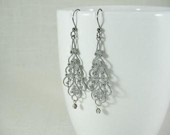 36ce4f0f9 gunmetal filigree earrings, long earrings, boho hippie gypsy Victorian  steampunk earrings, affordable dangle drop earrings gunmetal color