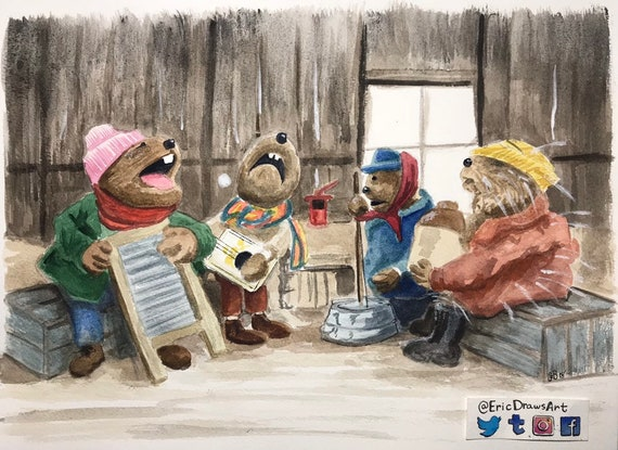 Emmet Otters Jug Band Christmas Book.Emmet Otter S Jug Band Christmas 11x17 Signed Limited Edition Watercolor Print