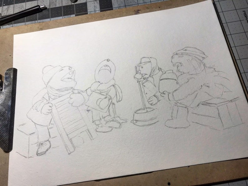 Emmet Otter/'s Jug Band Christmas 11x17 signed open edition watercolor print.