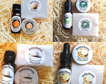 Beard oil, beard balm and beard soap - Beard care, grooming and maintenance combination package by BaldyBeardy. Clean, strong healthy beard