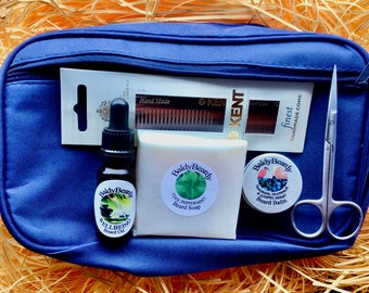 Beard travel kit for grooming, trimming & maintenance. A men's beard products toiletry bag for healthy, strong, soft beard, BaldyBeardy