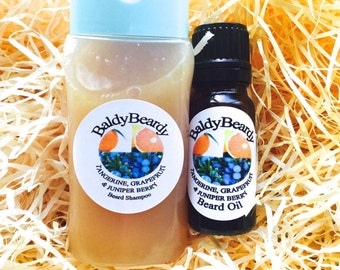 Beard wash shampoo and beard oil combination pack. Men's beard cleaning, grooming, conditioning, care and maintenance kit, BaldyBeardy