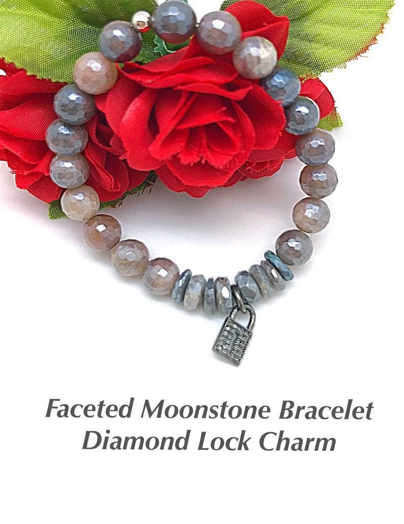 Grey Moonstone with Diamond Lock Charm Stretch Bracelet Gift for Girlfriend Anniversary Gift Mystic Moonstone and Diamond Lock Bracelet