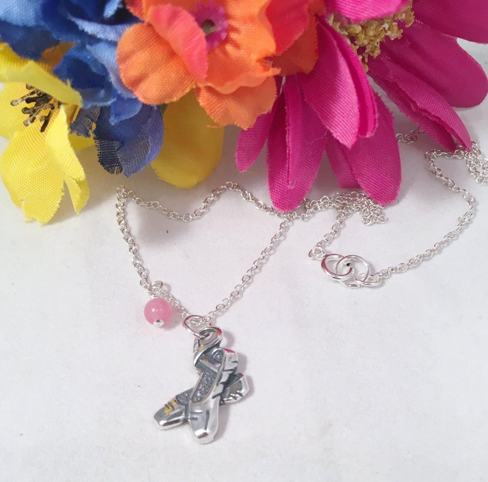 sterling ballet slipper necklace, dance recital gift, dance jewelry, dance teacher gift, sterling ballet point shoes necklace