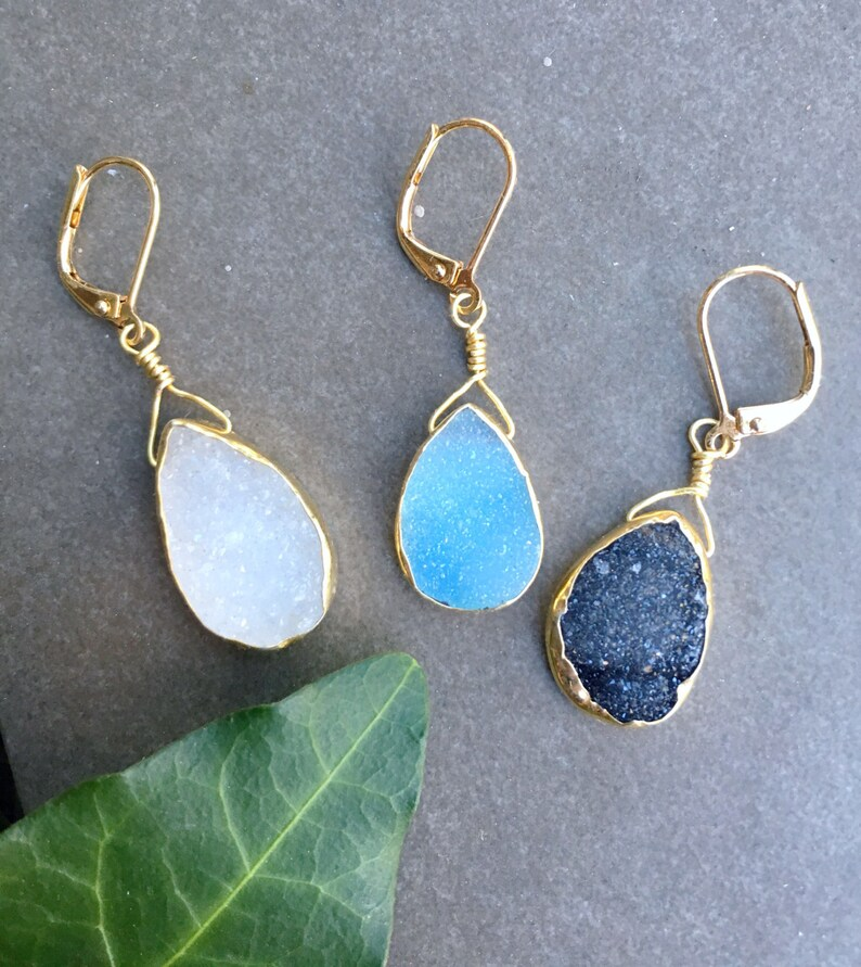 87d6357bd Gold Druzy Pear Shape Dangle Pair Earrings Petite Druzy Gold | Etsy