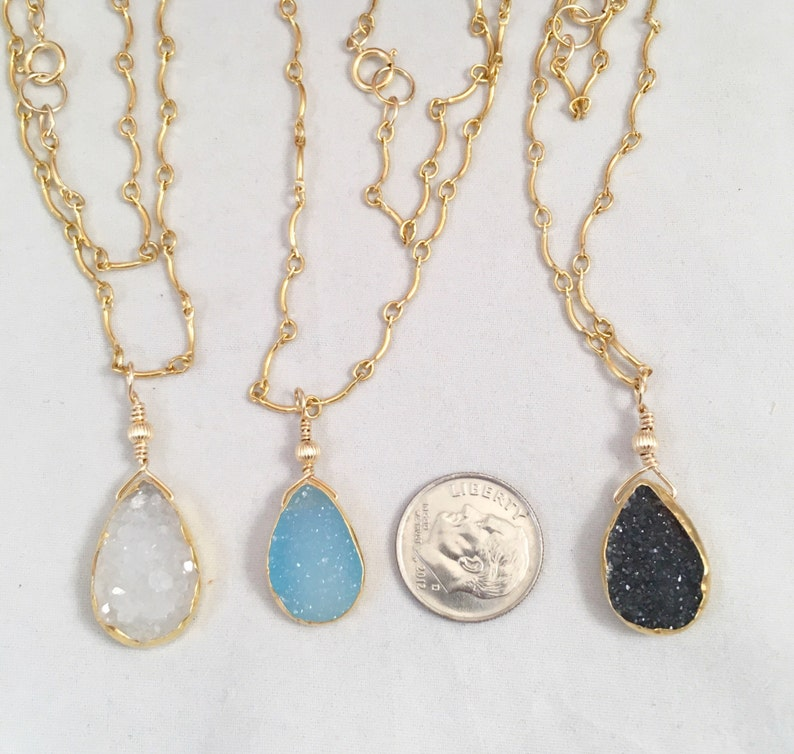 Reversible Gold Druzy Necklaces Minimalist Druzy Chokers Druzy Pear Necklace Scallop Chain Druzy Teardrop 3 Colors on Gold Fill Necklace