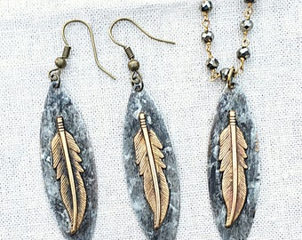 Feather Dangle Earrings & Matching Pyrite Feather Necklace, Pyrite Rosary Chain and Feather Pendant, Unique Feather Necklace and Earring