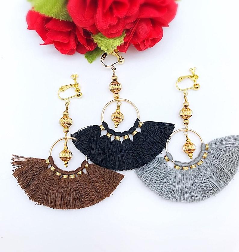 Gold Dangle Tassel Earrings Clip On and Hook Fan Tassel Dangle Earrings Gray FanTassel Dangle Clip On Earrings Brown Black