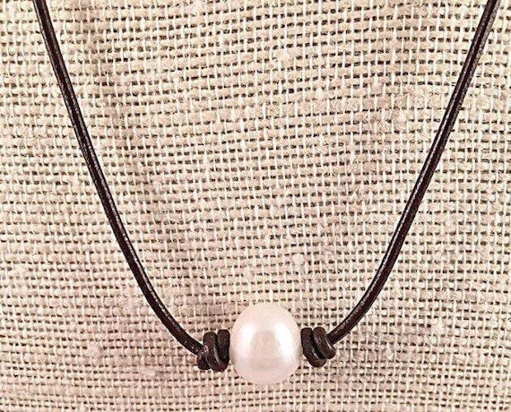 NOW 50/% OFF Lasso Style 3 Pearl Bead Drop Necklace on chocolate cotton cord
