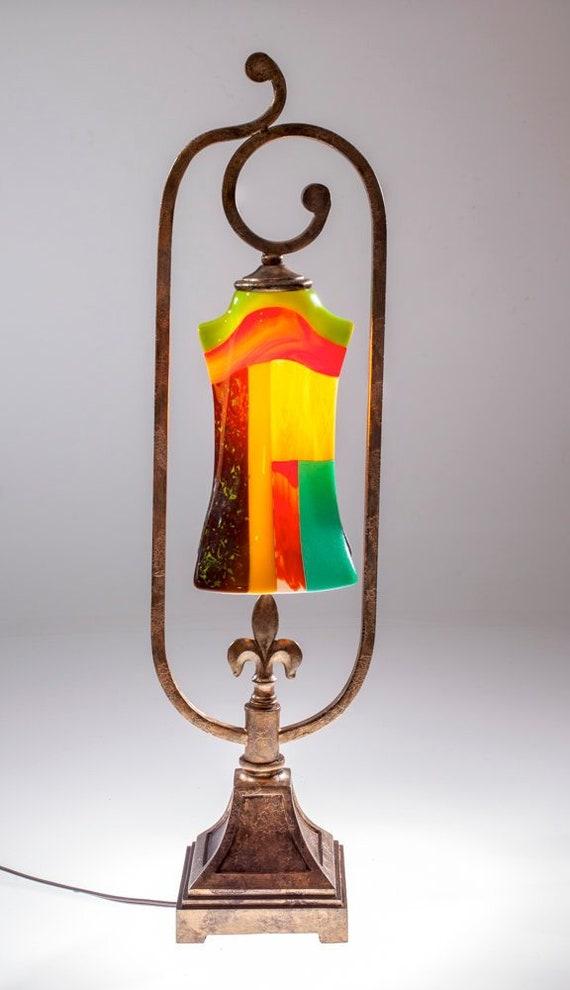 Vintage Table Lamp Fleur De Lis Lamp Glass Table Lamp Romantic Table Lamp