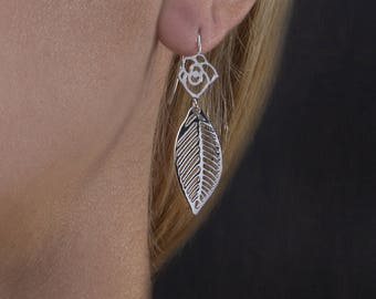 Flower with Leaf Earrings, Dangle Earrings,Drop Earrings,Luxury Earrings,925 Sterling Silver,Unusual Jewelry,18K Gold Plated
