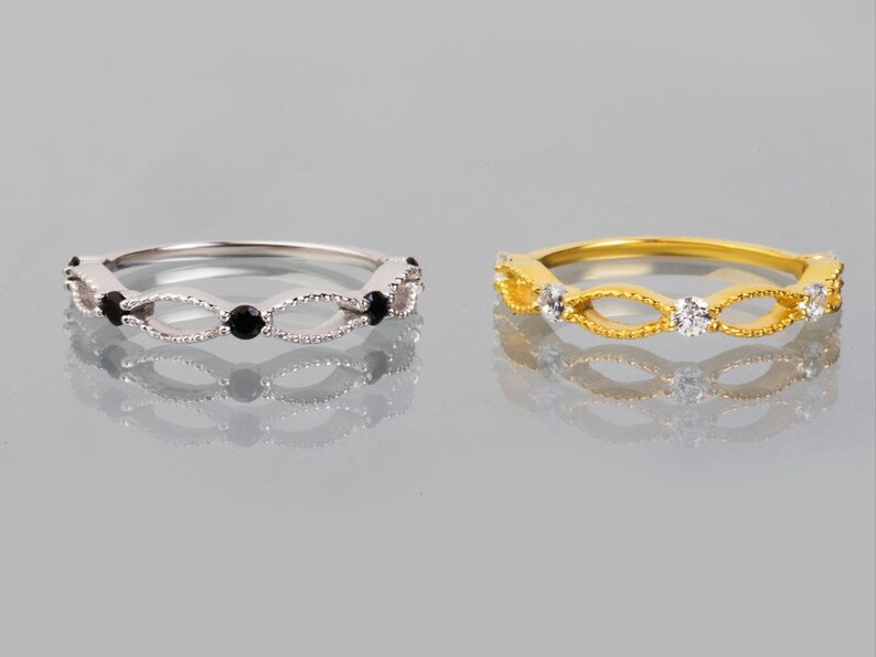 Stacking Ring 9k or 14k Solid Gold Minimalist Band Filigree Lace Band Ring White or Black Cubic Zirconia Delicate band 5 Stones