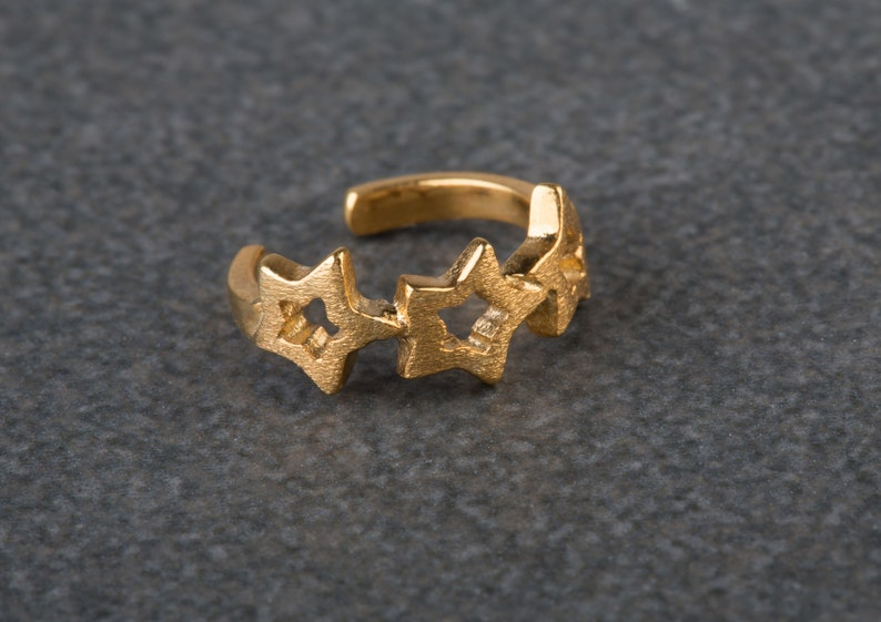 9k/&14k Gold Ear Cuffs,Non Pierced Ear Cuff,Unisex Ear Caff,Texured ear cuff,Real Gold Ear Cuff Solid Gold Ear Cuff,Stars Ear Cuff