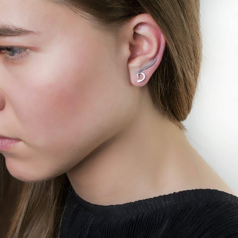 Earrings Cuff Ear Climber,Polished earrings Real Gold Ear Climber Solid Gold Wave Ear Climber Ear Cuff Earring,9k or 14k