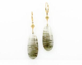 Green Rutilated Quartz Diamond Accented Earrings - Greenery Quartz - Natural Stone Earrings -  April Birthday Gift for Her - Bold Earrings