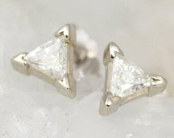 Diamond Studs in White Gold - Happy Diamonds - Triangle Earrings - High Quality Trillion Diamonds - Modern Heirloom Diamond Earrings - April
