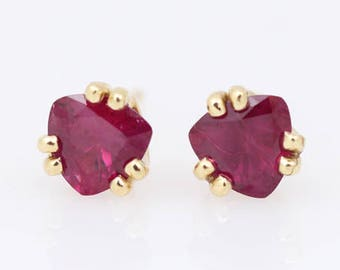 Fine Ruby Studs - Gold Ruby Earrings - Triangle Ruby Studs - Ruby Trillions Set in Yellow Gold Double Prong Studs - Gift for Her - Ruby Red
