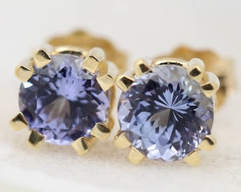 Tanzanite Studs in Yellow Gold - Double Prong Earrings - Tanzanite Earrings - Purple Studs - Yellow Gold Studs - Blue Studs - Gift for Her