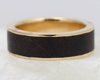 Hardwood Wedding Ring - Wood Wedding Band - Yellow Gold and Ironwood Wedding Ring - Woodland Ring - Natural Ironwood Wedding Ring