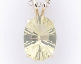 Lime Quartz White Gold Pendant - Fine Custom Cut Light Lime Quartz - Faceted Quartz Necklace - Concave Gemstone - Faceted Quartz Pendant