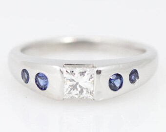 Diamond and Sapphire Platinum Ring - Modern Heirloom - Smooth Engagement Ring - Princess Cut Diamond Engagement Ring with Sapphire Accents