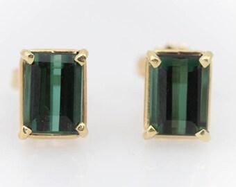 Tourmaline Gold Studs - Emerald Cut Green Studs - Rectangle Green Studs - Green Tourmaline - Fine Gold Studs - Tourmaline Earrings