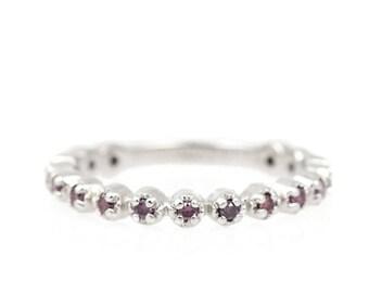 Purple Diamond Band - Delicate Diamond Ring - Scalloped Edge Stackable Ring - Bead Set Diamond Band - Low Profile Dainty Diamond Band