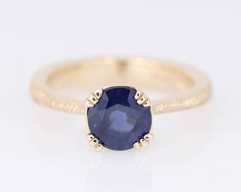 Sapphire Engagement Ring - Classic Blue Sapphire Solitaire Ring - Triple Prong Setting - Tapered Engagement Ring - Blue Sapphire Ring